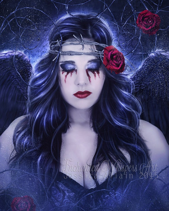 Dark Gothic Angel portrait art print