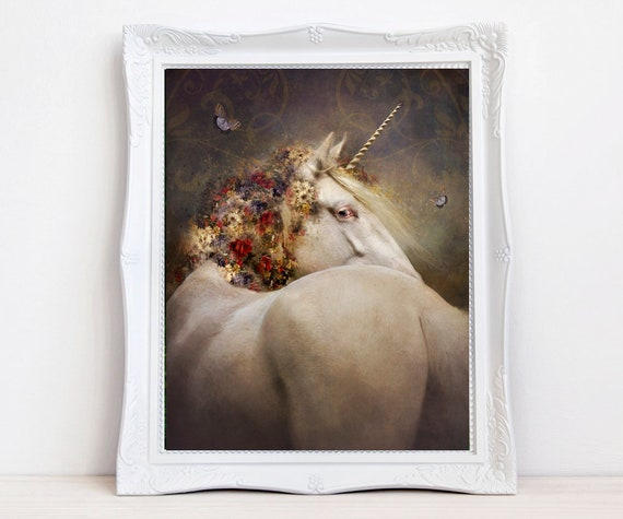 vintage fantasy Unicorn art print