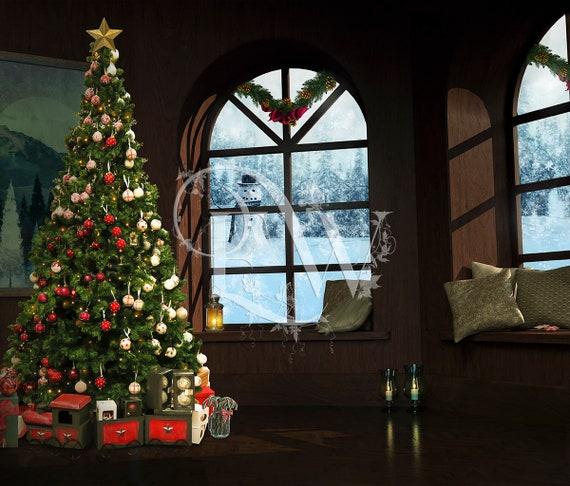 Christmas Holiday Photoshop background, X-mas window premade digital photo editing backdrop