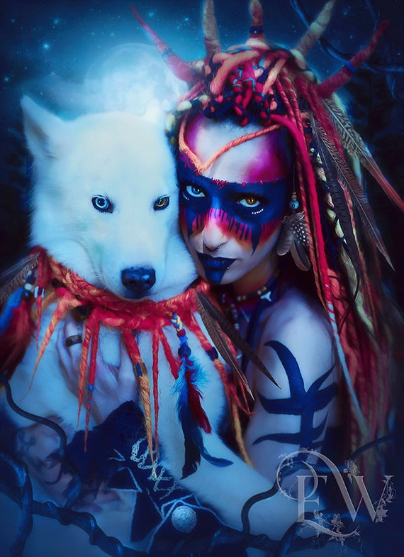 Eskimo husky dog and native woman portrait print
