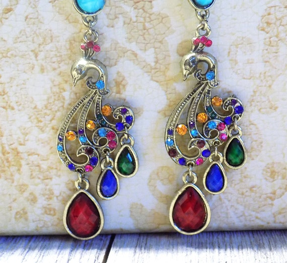 vintage antique style boho colorful drop peacock bird earrings