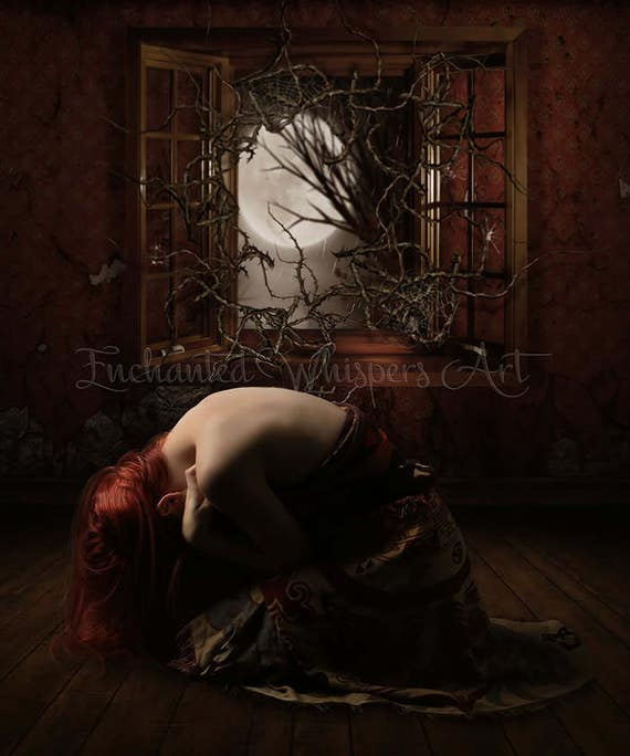 "Gothic woman kneeling at windown ""Nightmare"" art print"