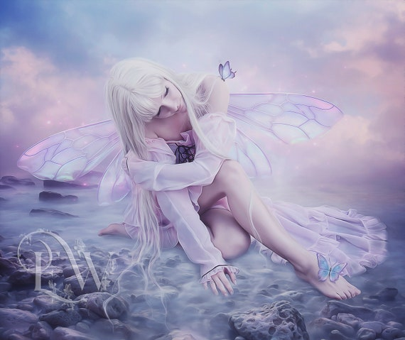 Beautiful pink fantasy Fairy art print