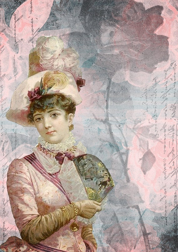 Victorian woman portrait pink wall art