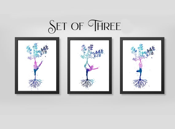 Set of three yoga art prints, black and white of colorful grounding yoga wall decor, meditation wall art