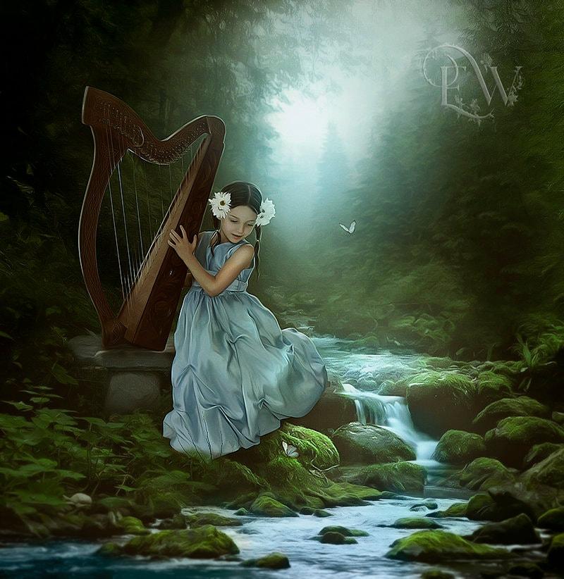 Little girl fantasy art print, little girl playing harp, fantasy ...