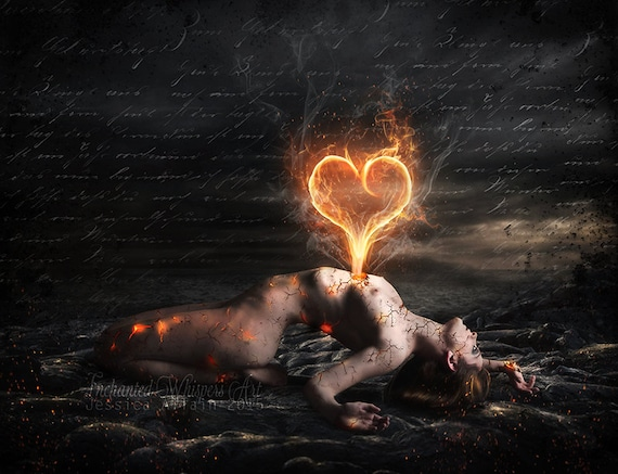 Nude Gothic woman with heart of flames art print