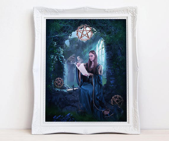 Three of Pentacles fantasy art print
