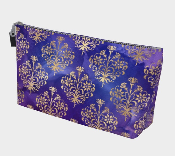 purple and gold makeup bag,  Royal colors toiletry bag