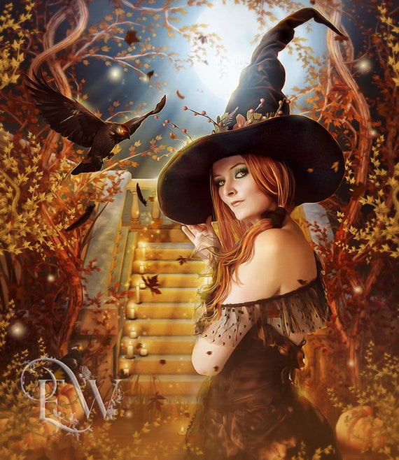 sexy fantasy Halloween Witch art with crow and pumpkins art print