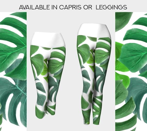 tropical green leaves yoga leggings or capris