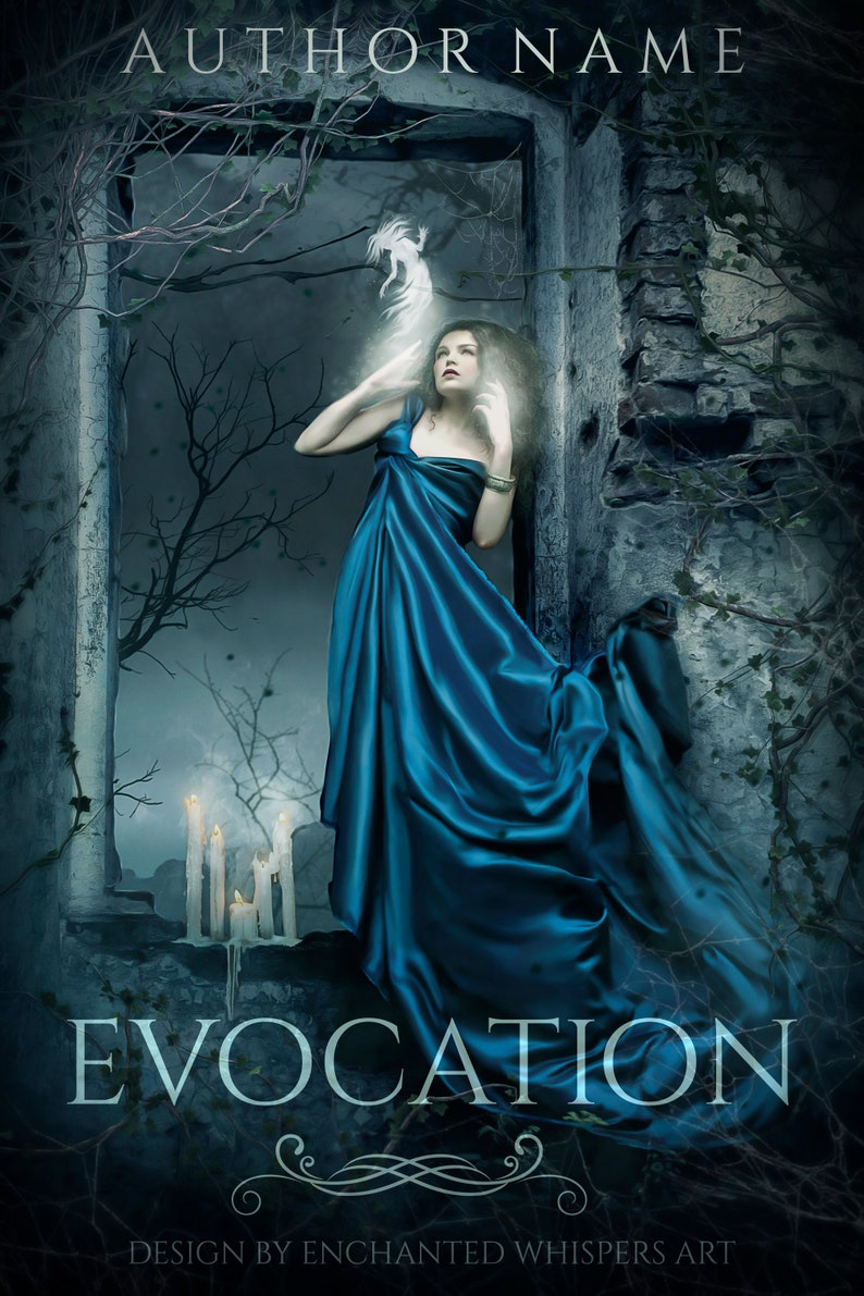 Fantasy Dark Witch Doing Magic Premade Book Cover Digital Art