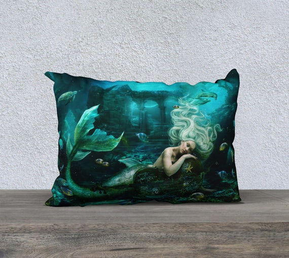 mermaid siren fantasy cushion cover