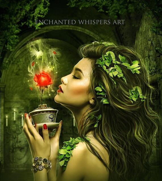 Oriental woman print, fantasy woman art, magical woman art, fantasy decor, fantasy wall art, green wall art, square print, green and red