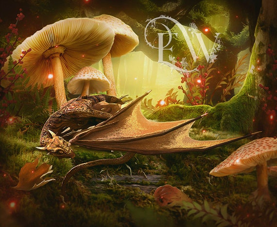 baby dragon in woodland setting art print, cute dragon sleeping wall decor