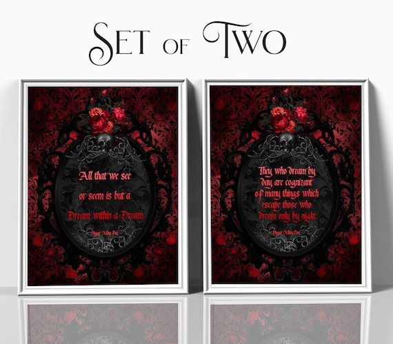 Edgar Allan Poe quote, Gothic quote print, Gothic wall decor, Red and Black, Victorian frame