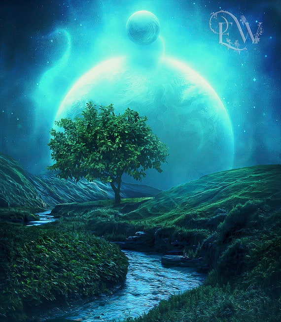 Fantasy tree of life art decor print by Enchanted Whispers