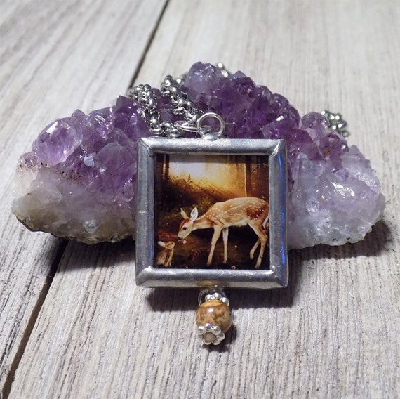 baby deer and bunny woodland necklace