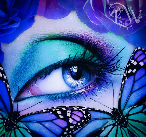 Blue surreal fantasy eye art print, butterfly poster, colorful wall art