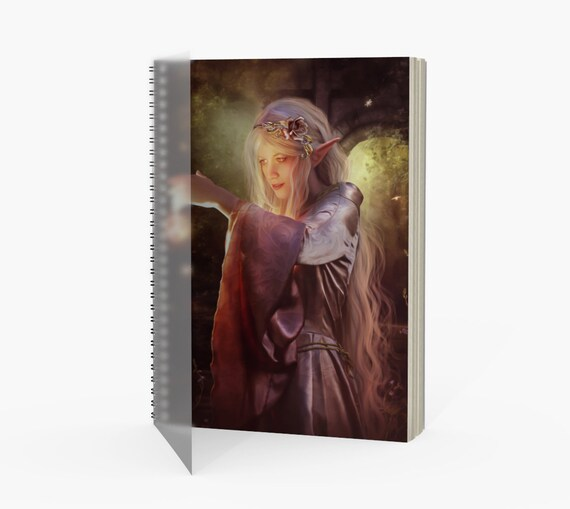 fantasy elf spiral binded notebook with four paper choices
