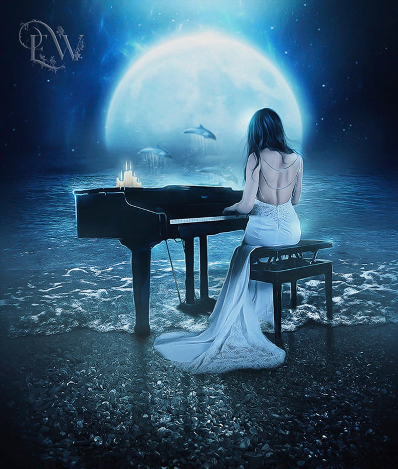 Fantasy Woman Playing Piano By The Sea Art Print Full Moon Etsy