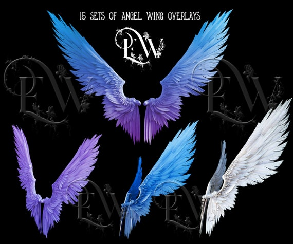 Angel wing overlays, Photoshop 3d wings, fantasy feathered realistic wings
