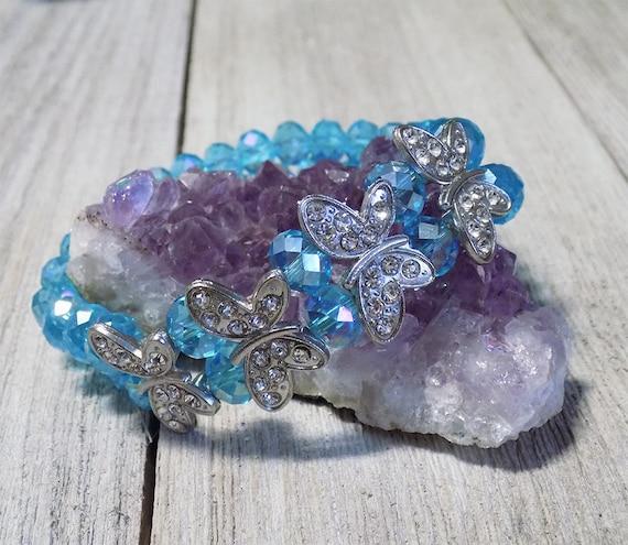 handmade beaded blue butterfly bracelet