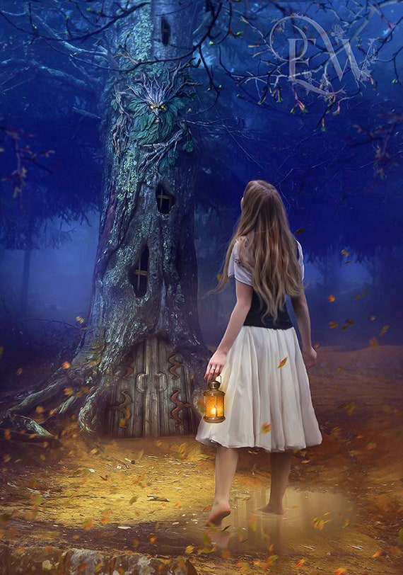 fantasy tree and woman mysticak forest art print