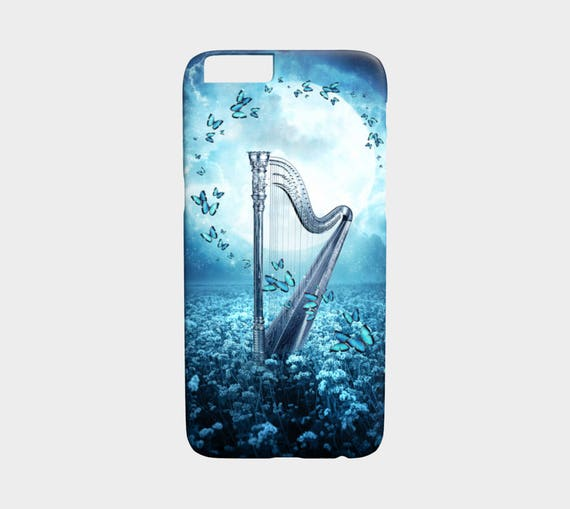 fantasy art phone case, beautiful harp with butterflie, blue phone cover