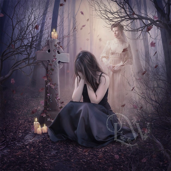 Gothic woman art print, Victorian ghost grave wall decor, dark fantasy digital painting