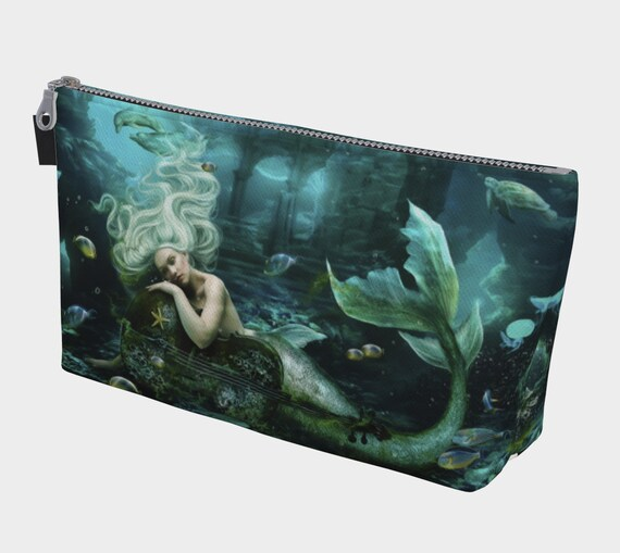 mermaid makeup bag cosmetic bag printed on canvas