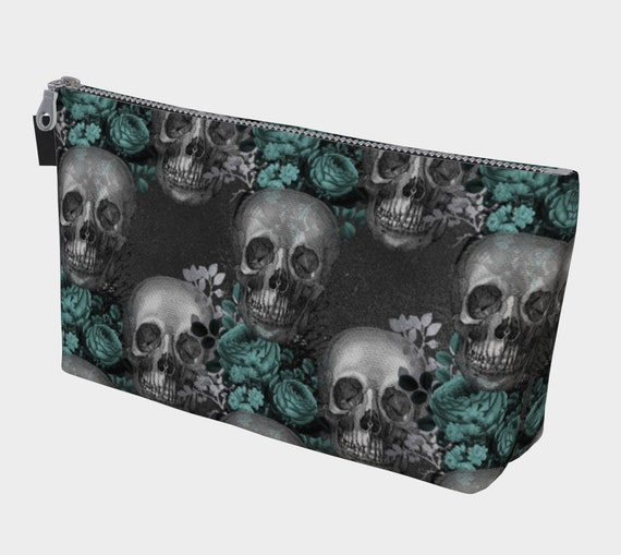 Gothic skulls and floral cosmetic bag, teal and grey toiletry bag, sugar skull makeup bag