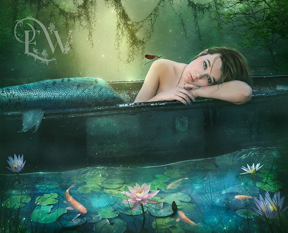 beautiful mermaid in serene pond art print, fantasy siren wall decor, bathroom wall art, mermaid poster