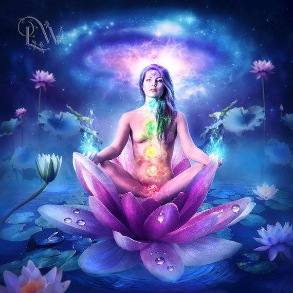 meditation yoga chakra art print