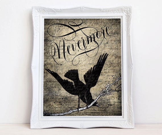 Nevermore Quoth Raven art print, Vintage crow raven, Edgar Allen Poe