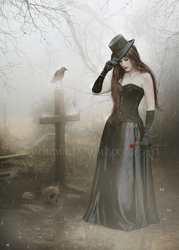 Gothic woman at grave art print