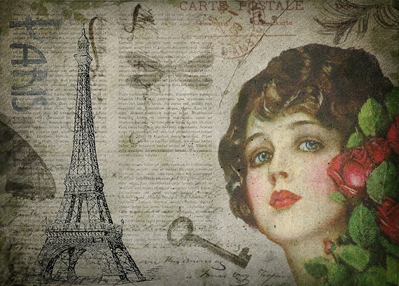 Paris vintage woman portrait art print