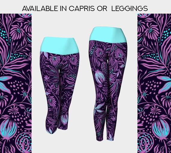 purple and aqua floral yoga leggings or capris