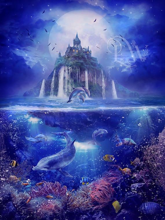 fantasy floating castle sea scape print, Atlantis art print, Ocean wall decor, dolphin digital art