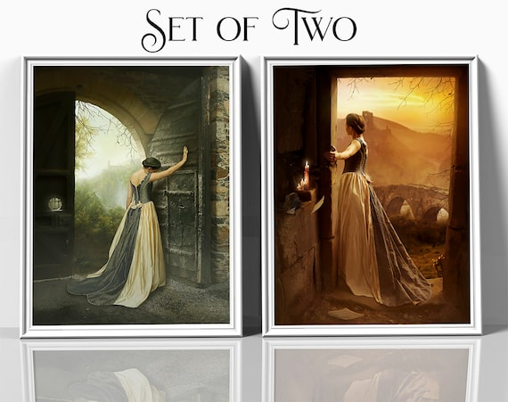 set of two fantasy medieval woman, digital painting wall art