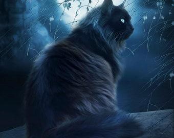 Black cat art, Black cat picture, black cat print, fantasy cat art, full moon art, blue artwork, black cat decor, cat wall art, cat art