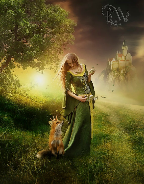 fantasy fairytale woman and fox art print