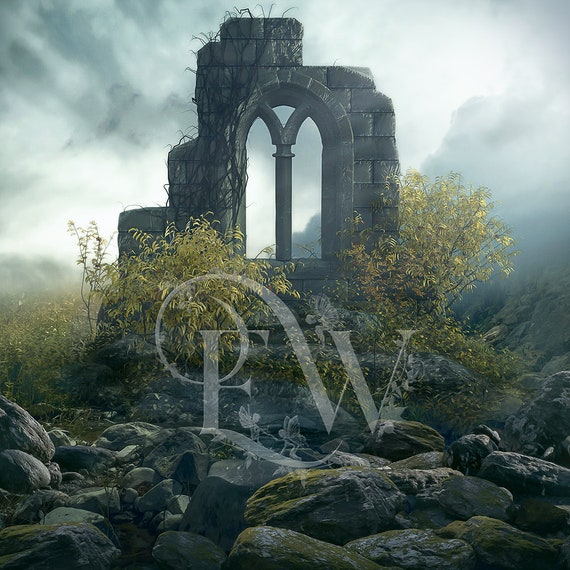 digital castle ruins premade Photoshop background for photo compositing, instant download photo editing