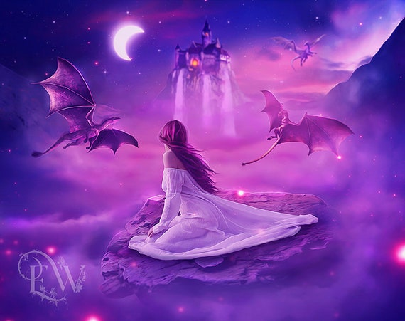 fantasy dragons pink and purple art print poster