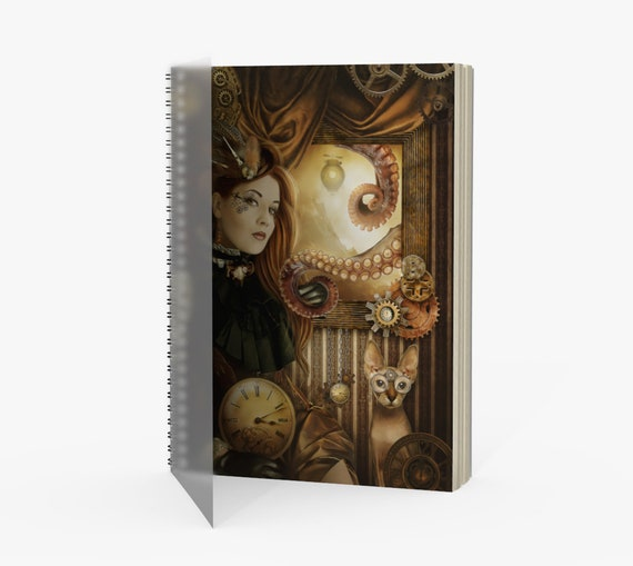 Steampunk fantasy art notebook or journal with spiral binding