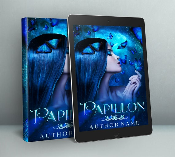 fantasy girl with blue morph butterflies premade cover design