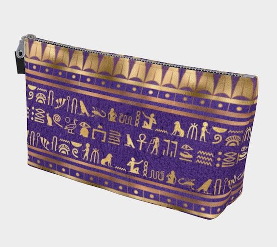 purple and gold color Egyptian hieroglyphs print makeup bag
