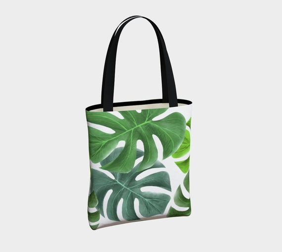 Large Green Leaves Botanical Green And White Tote Bag Green Etsy