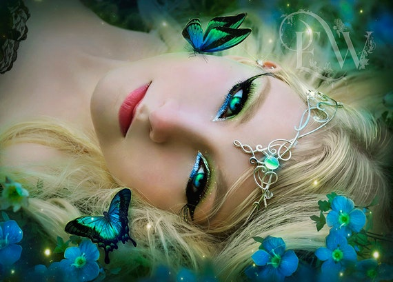 Beautiful fantasy Elven Queen portrait art print, magical woman wall decor, blue and green digital art poster