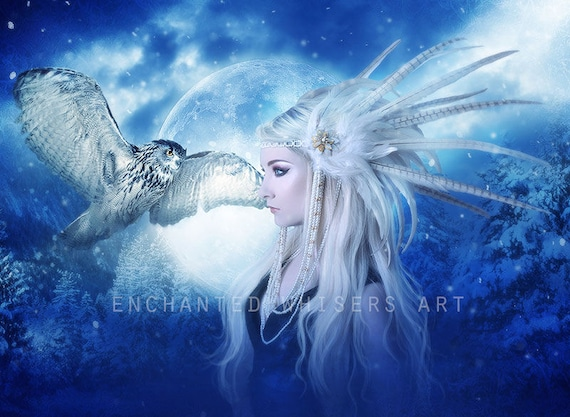 fantasy woman portrait blue with owl wall art print